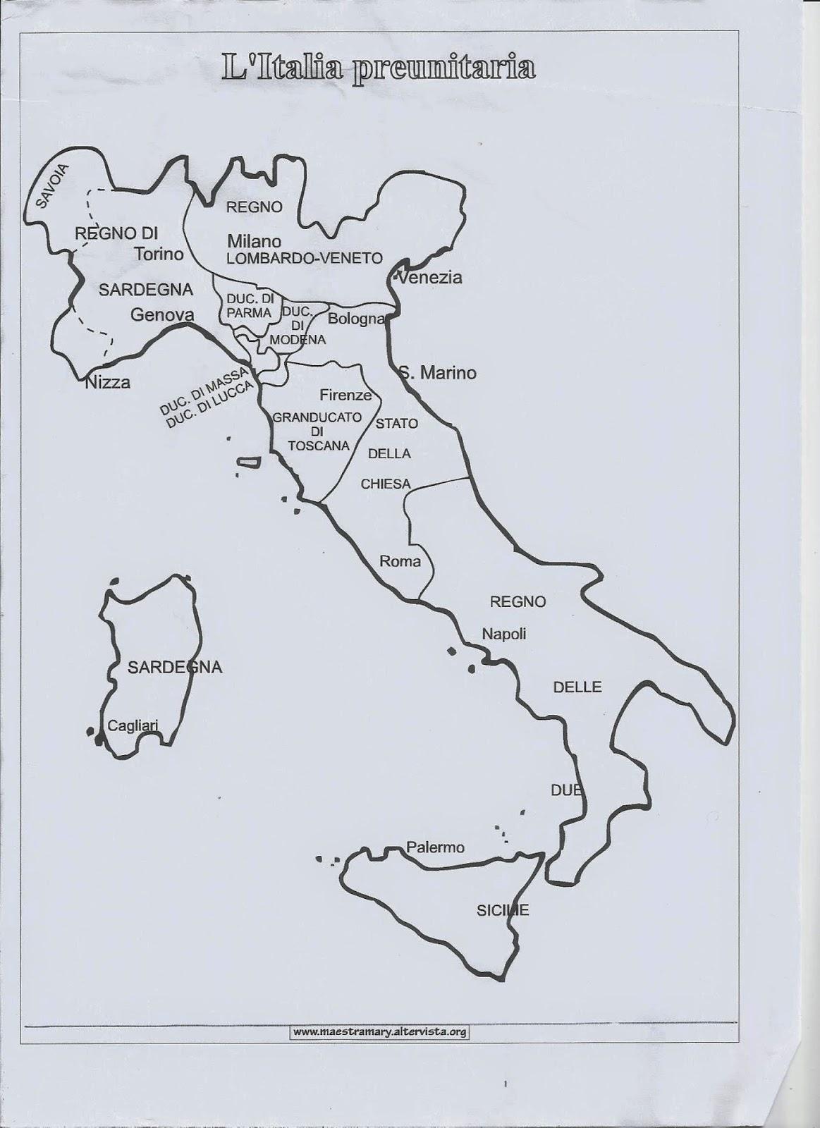 Cartina Dell Italia 1815.Mappa Itala Dopo Il Congresso Di Vienna Cartina Italia Preunitaria