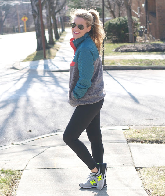 patagonia snap-t and lululemon leggings and new balance sneakers