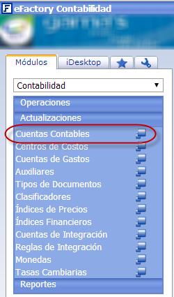 Abrir el Formulario de Cuentas Contables - Configuración del Plan de Cuentas en eFactory Contabilidad