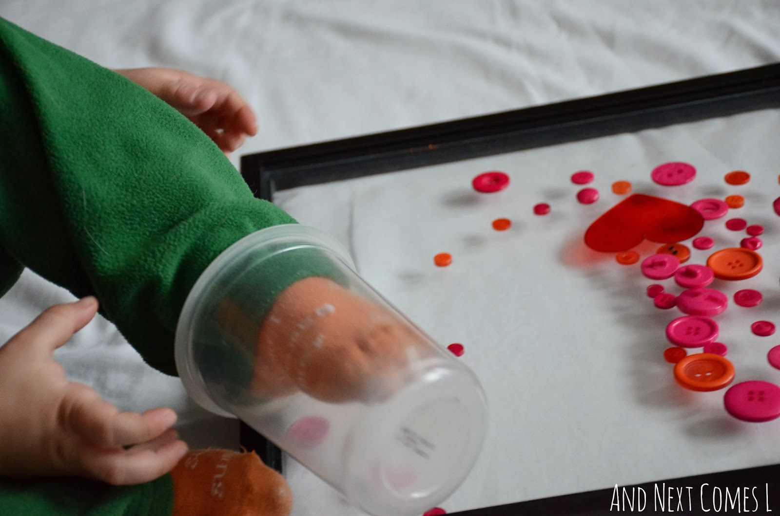 Loose parts Valentine's activity for toddlers