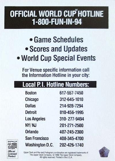 Upper Deck world cup usa 1994-base Card-frank de boer-Netherlands