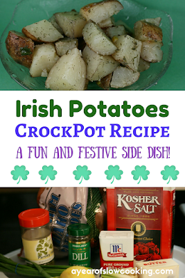 Irish Potatoes are a fun and festive side dish to make this year for your St. Patrick's Day feast! This crockpot recipe uses russet potatoes, lemon, dill, butter, and parsley to make a great potato side that your whole family will love!
