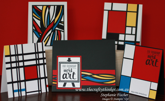 Stampin' Up Australia, #thecraftythinker, Gift Card Set, Mondrian, Swirly Scribbles, Painter's Palette, Stampin Up Australia demonstrator
