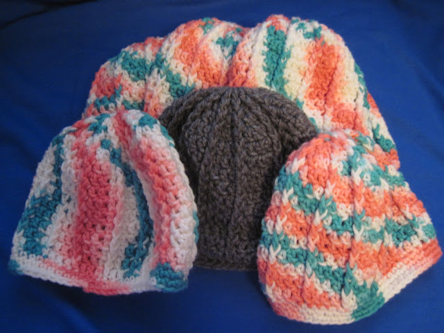 Crochet hats to donate to Operation Christmas Child shoebox packing.