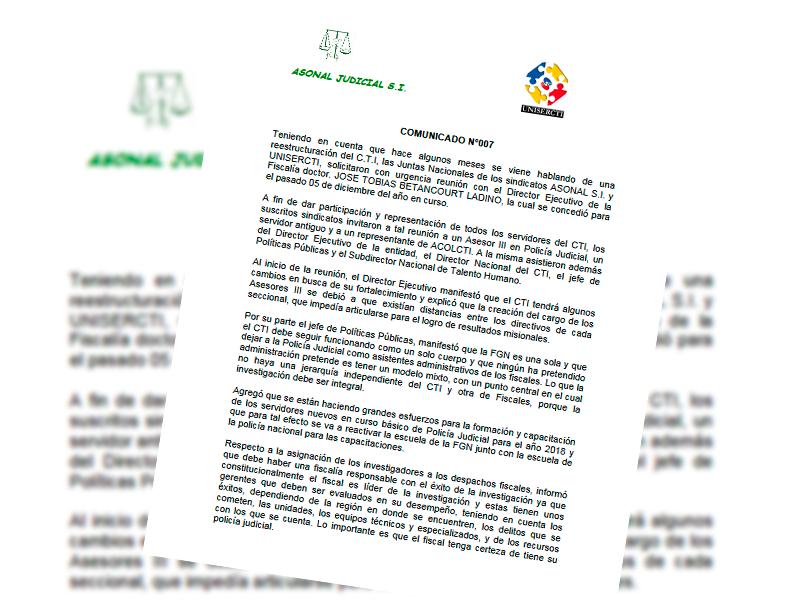Comunicado Nº 007: Informe reunión CTI