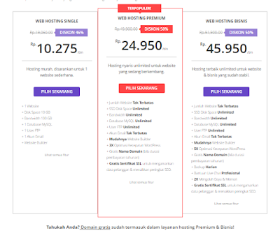 Daftar harga hosting hostinger