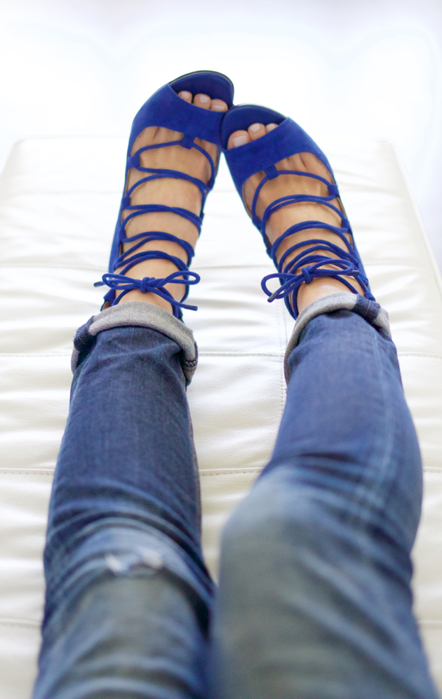 Wearing Blue Lace-up Suede Sandals