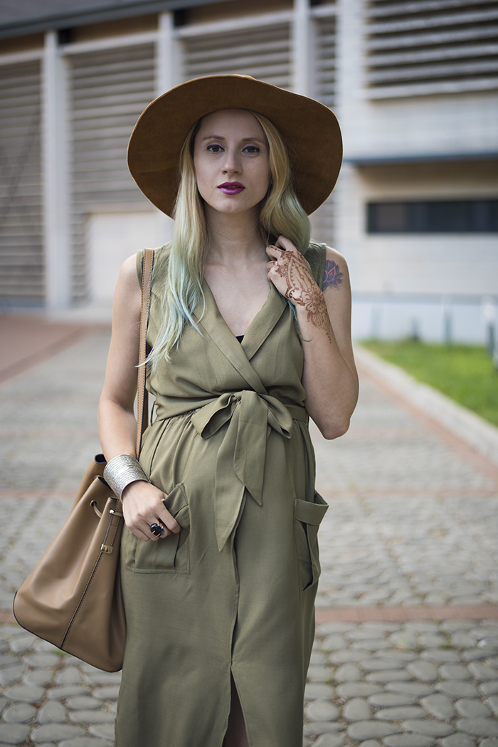 Skinny Buddha army green sleeveless dress safari