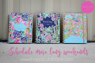 A beauty shot of three Lilly Pulitzer notebooks, with graphic text by A Cut Above encouraging the viewer to schedule more long weekends.