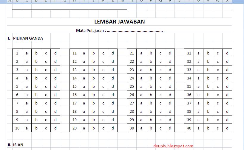Lembar Jawab Format Excel Deuniv