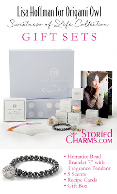 "LISA HOFFMAN FOR ORIGAMI OWL SWEETNESS OF LIFE FRAGRANCE BEADS WITH HEMATITE BEAD BRACELET 7"" GIFT SET available at StoriedCharms.com"