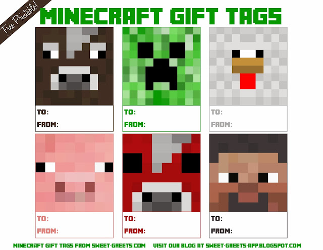 Here Are Some Free Printable Minecraft Gift Tags For The Fanatics In Your Life They Feature Various Characters Like Cow Creeper