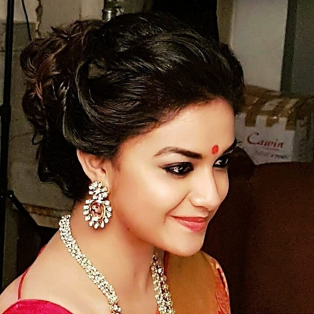 Actress Keerthy Suresh on the Sets of Mahanati Movie Stills