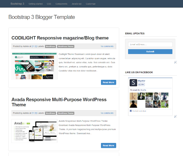 Template blogger simple responsive dengan bootstrap blog for Bootstrap 3 email template