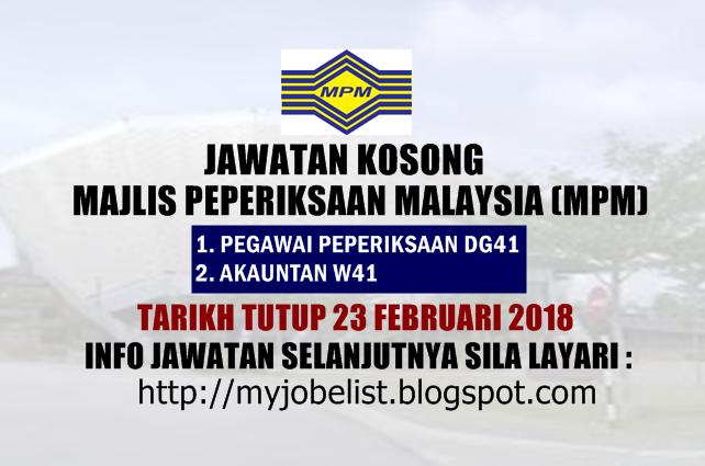 Jawatan Kosong Majlis Peperiksaan Malaysia (MPM) Februari 2018