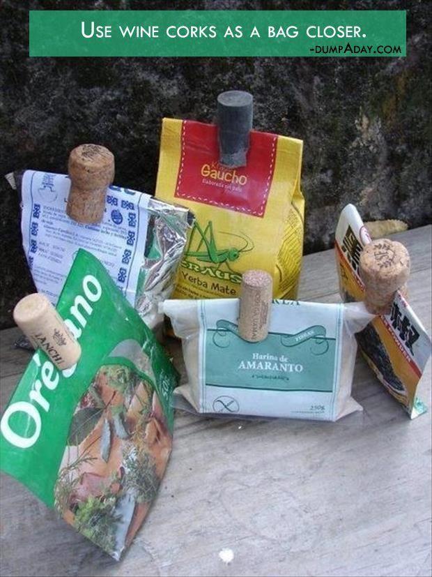 Cierres de bolsas con tapones de corcho