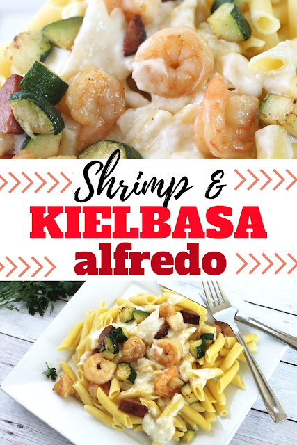 Quick and family friendly weeknight meal with shrimp and kielbasa.  Add your own homemade alfredo and you've got a tasty meal.