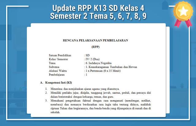 Update RPP K13 SD Kelas 4 Semester 2 Tema 5, 6, 7, 8, 9