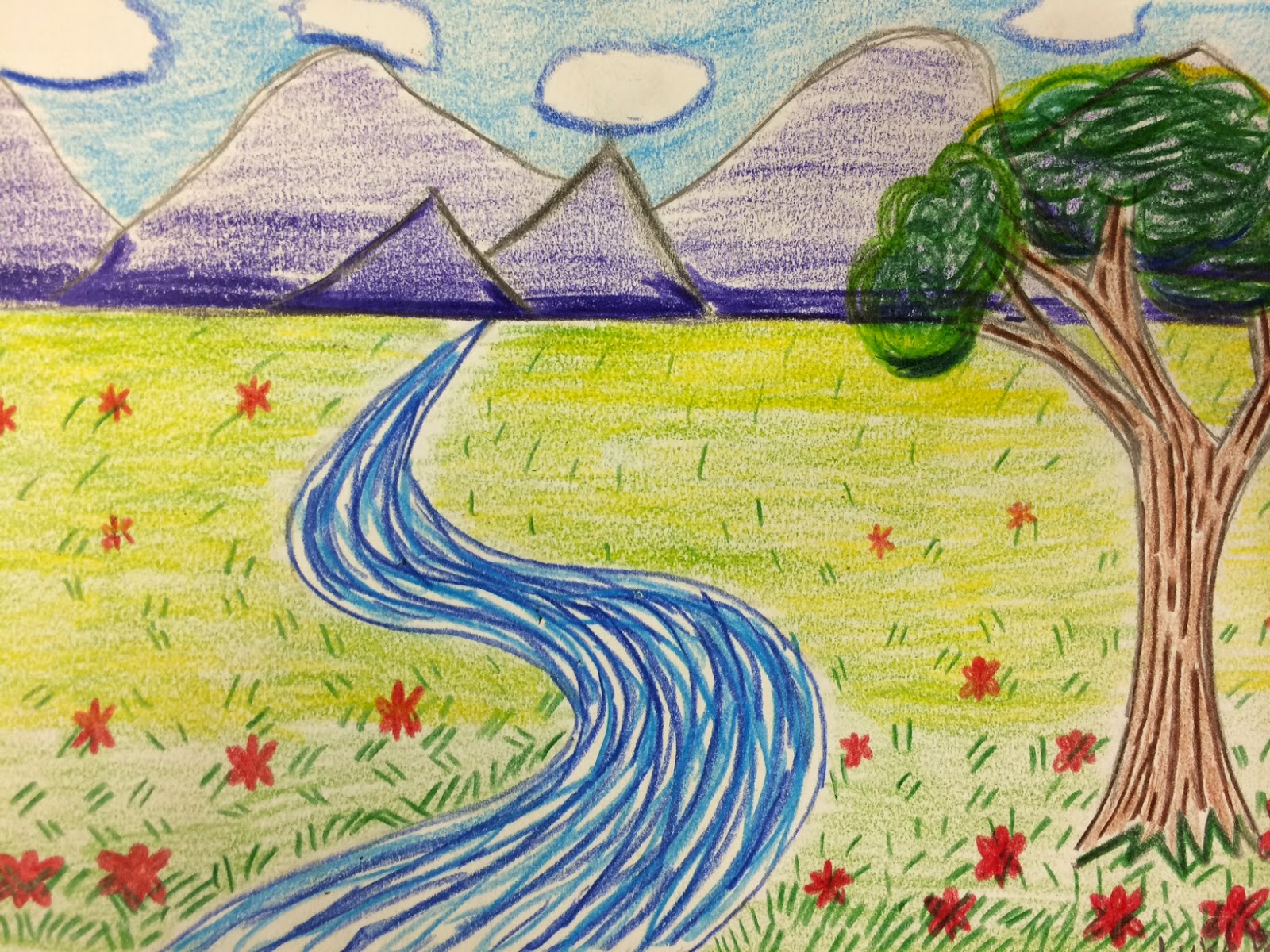 Easy Scenery Drawing For Class 2 The Helpful Art Teacher The Art