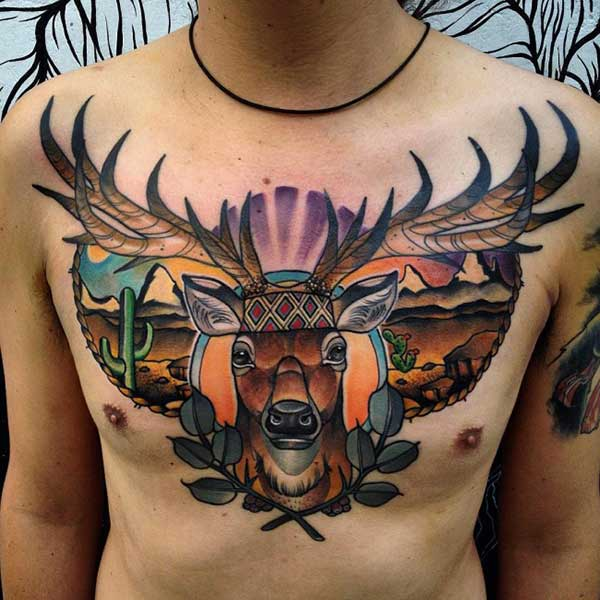 texas deer tattoo man chest