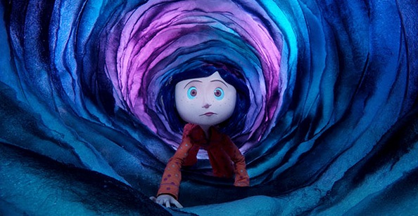 Coraline, a wide-eyed girl with blue hair, crawling through a strange tunnel lit in blues and purples