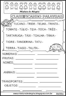 Classificar palavras com letra T