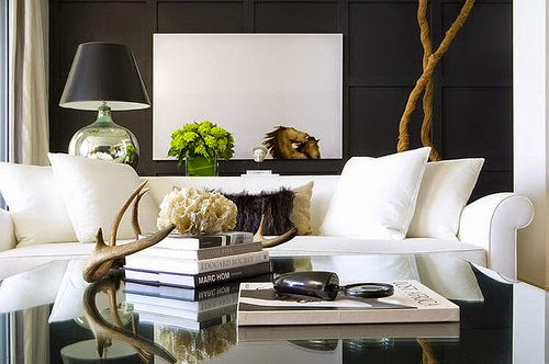 modern black and white interior design living room textures