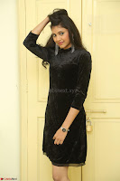 Mounika in a velvet short black dress for Tick Tack Movie Press Meet March 2017 113.JPG