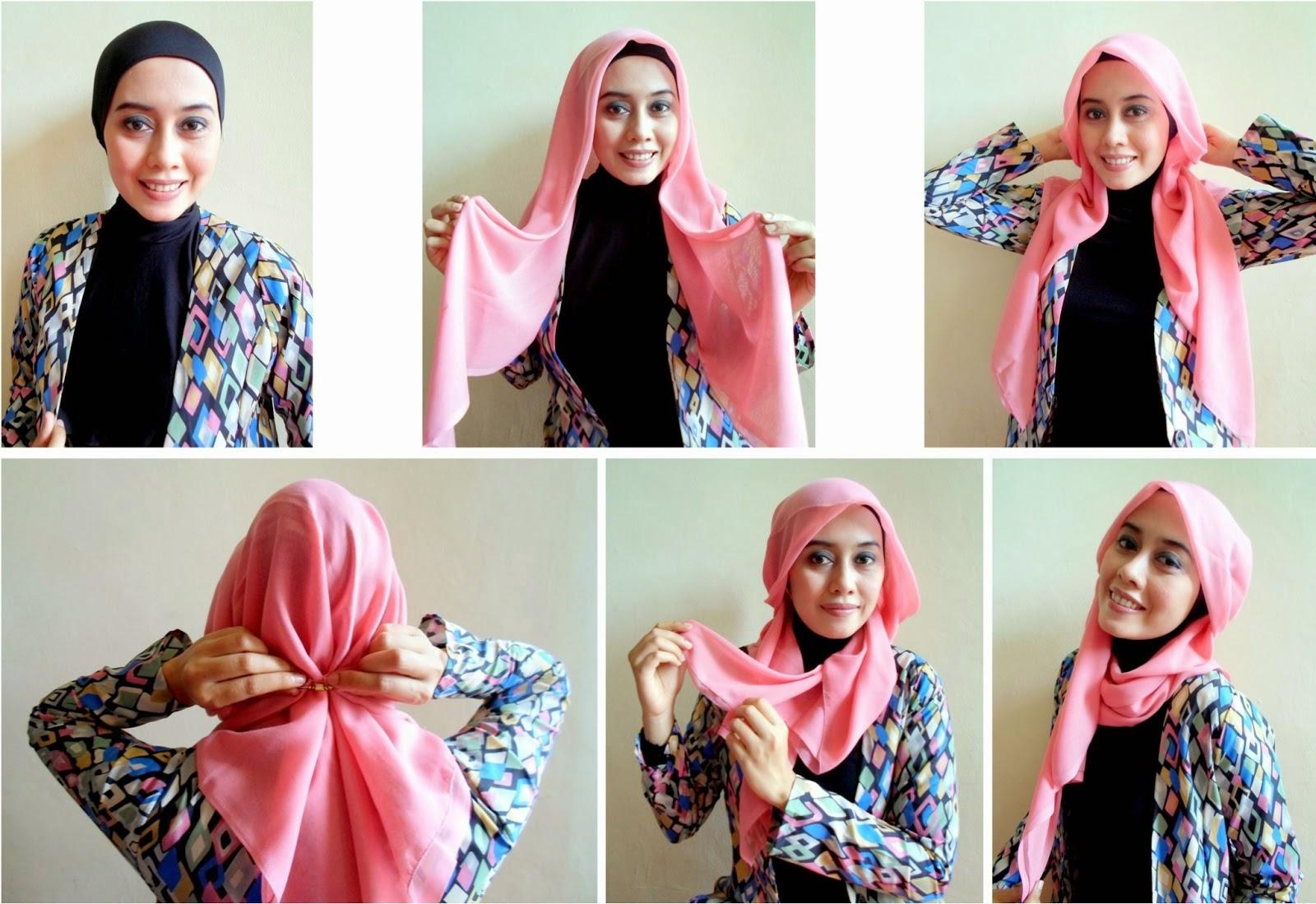 27 Galery Tutorial Hijab Satin Segi Empat Tahun 2017 Tutorial