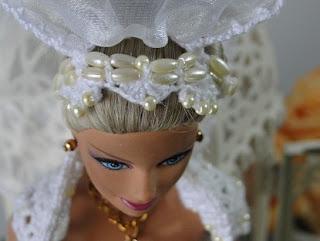 Barbie por Pecunia MM vestido de noiva de crochet véu e grinalda