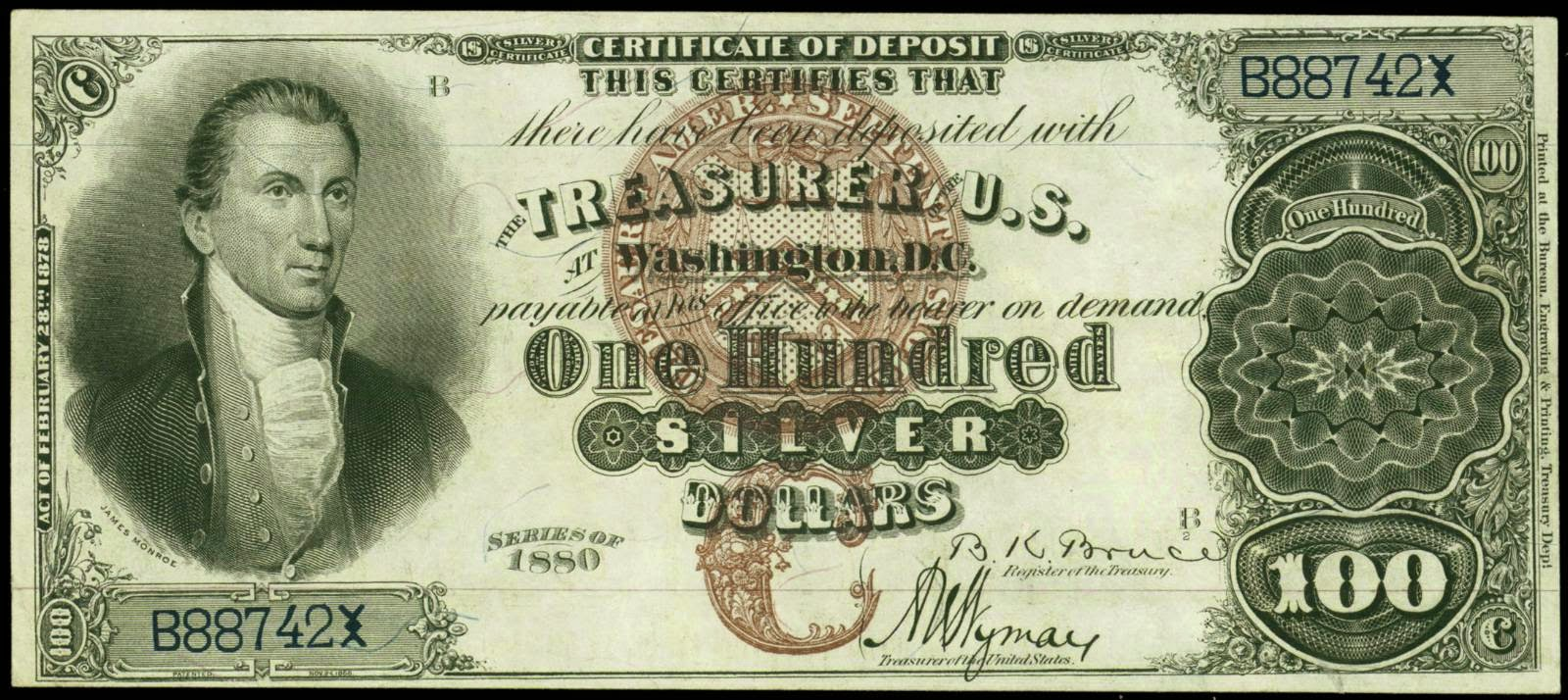 1880 100 Dollar Silver Certificate World Banknotes Amp Coins