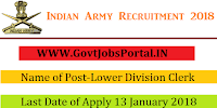 Join Indian Army Recruitment 2018 – 291 Lower Division Clerk, Tradesman Mate