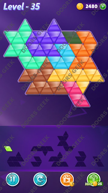 Block! Triangle Puzzle 8 Mania Level 35 Solution, Cheats, Walkthrough for Android, iPhone, iPad and iPod