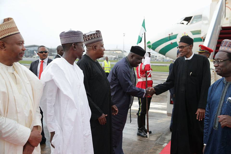 President Buhari arrives Abuja from Germany visit