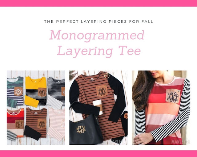 colorblocked layering tunics with monogram
