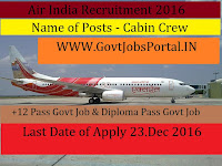 Air India Recruitment For Cabin Crew Member 2017