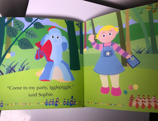 "Inside pages of the book with text' ""Come to my party, Igglepiggle,"" said Sophie."" a picture of Iggle Piggle, the pontipines and the red ones"