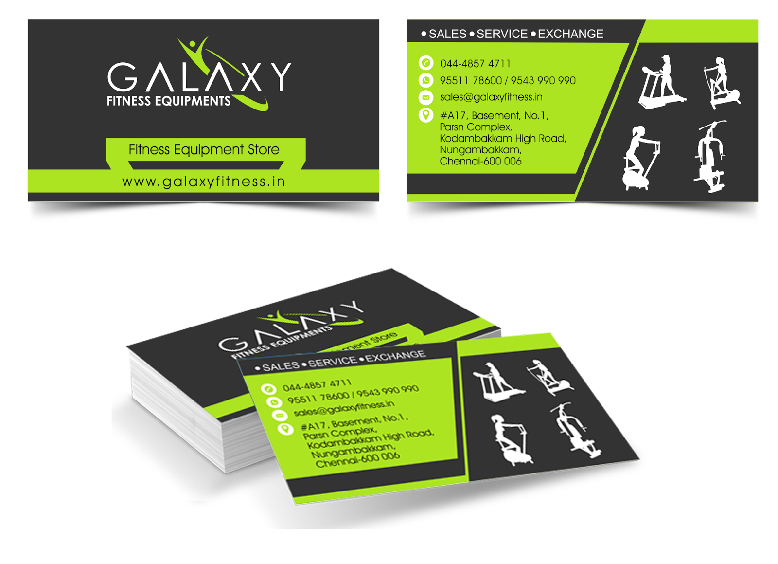 Galaxy Fitness Visiting Card - UNIQUE VISUALS (CHENNAI) Unique ...