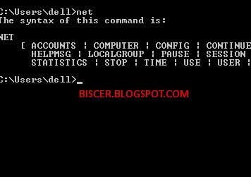 perintah net pada Command Prompt