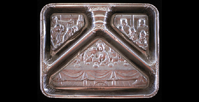 TV Dinner foil tray with The Last Supper