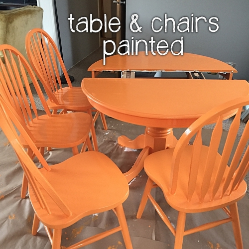 table and chairs painted orange