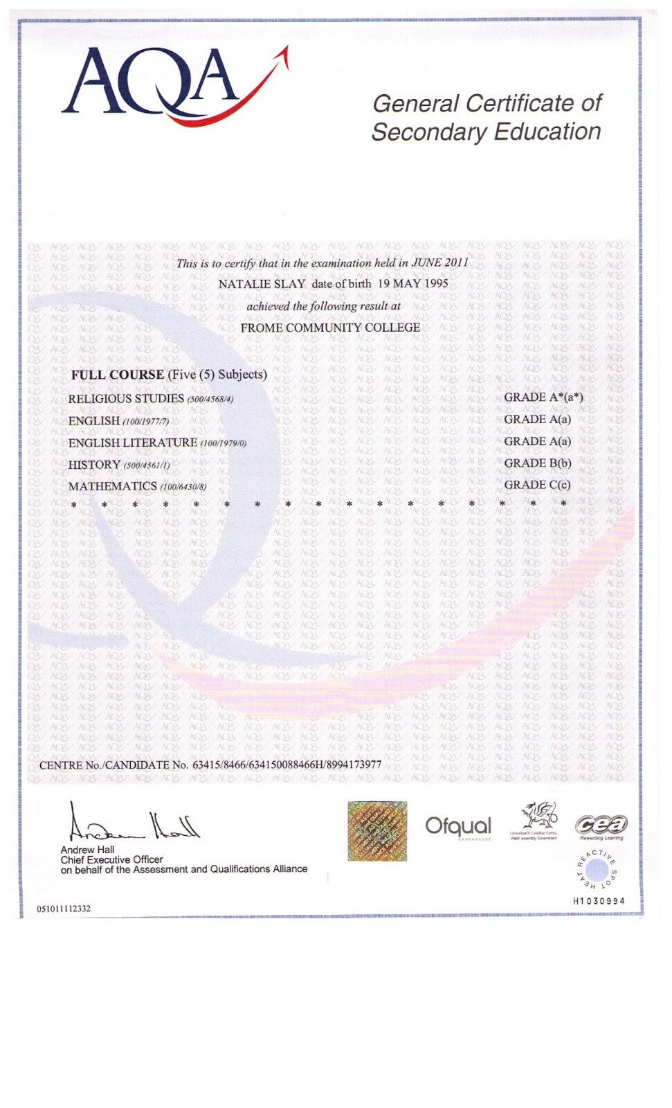 gcse certificate template my curriculum vitae january 2013