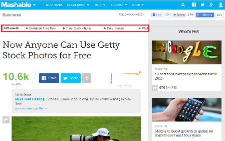 Mashable Uses Link Units Above-the-Fold for making most of Link-Units