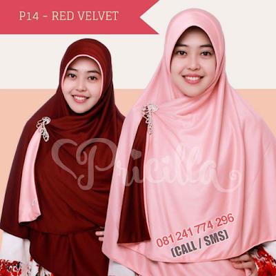 JILBAB Bolak Balik Atau Timbal Balik Original P14 - RED VELVET