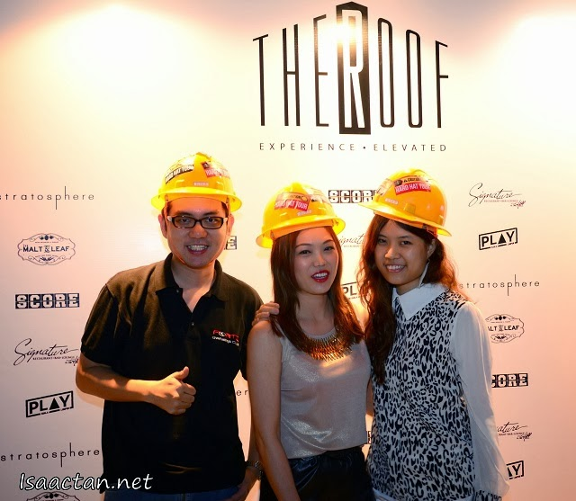 "At the media launch, wearing our ""hard hats"""