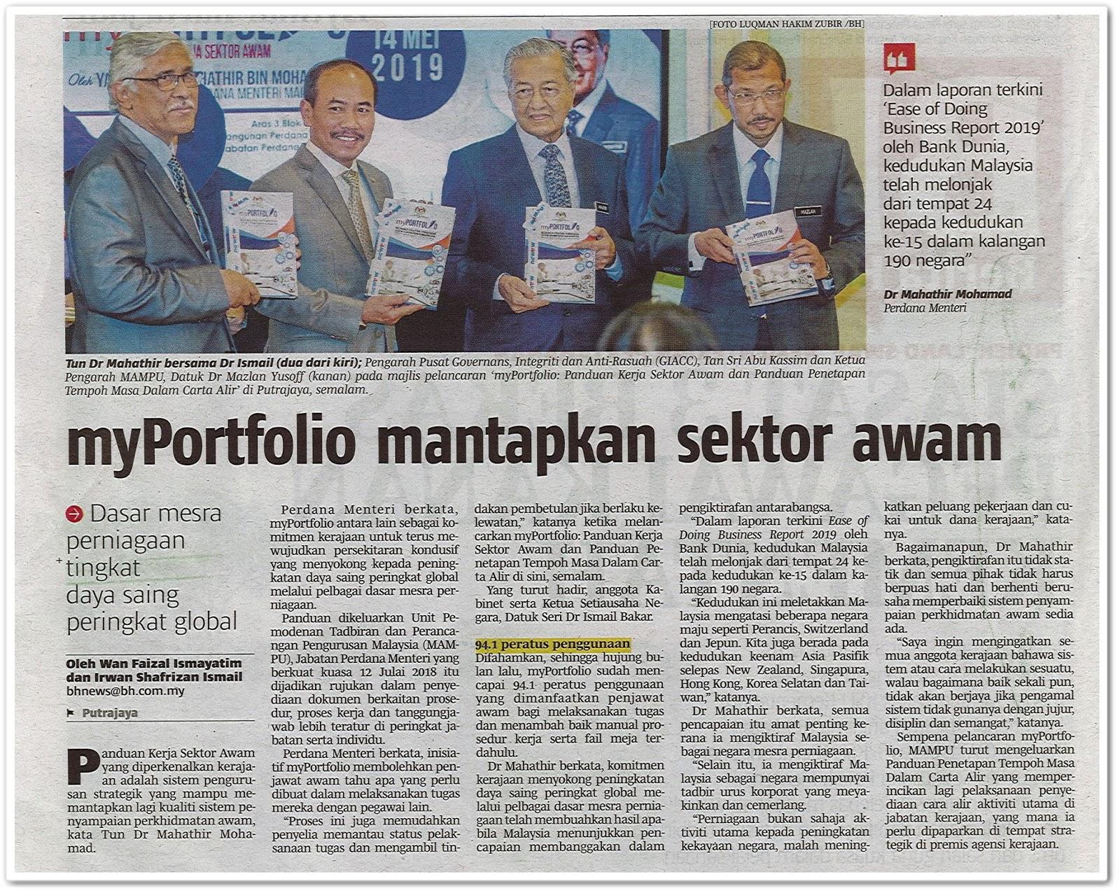 MyPortfolio mantapkan sektor awam - Keratan akhbar Berita Harian 15 Mei 2019