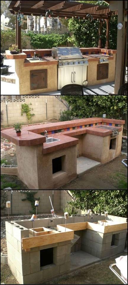 barbacoa o Parrilla construida con bloques