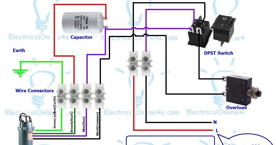 Single Phase 3 Wire Submersible Pump Wiring Diagram | Electrical ...
