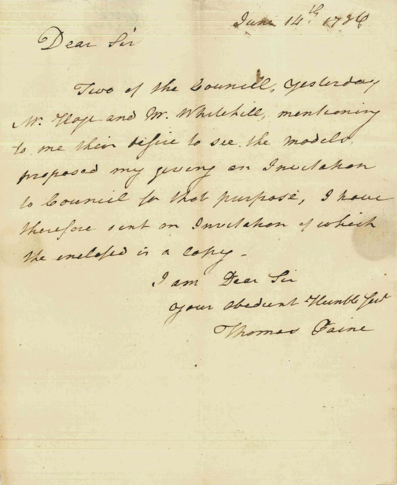 A handwritten letter from Thomas Paine.