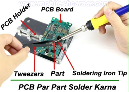 How to solder mobile phone small parts on pcb of a mobile cell phone iphone android smartphone